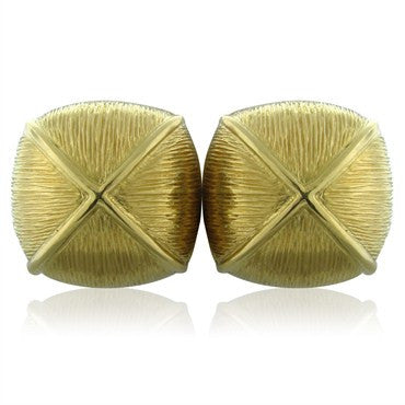 image of David Webb 18K Yellow Gold Brushed Finish Earrings