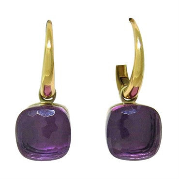 thumbnail image of New Pomellato Nudo 18k Gold Amethyst Hoop Earrings