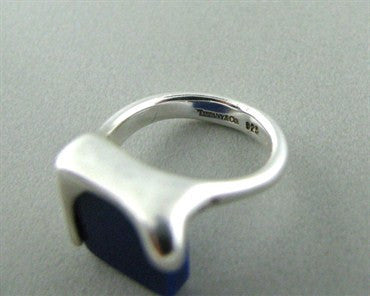 image of Estate Tiffany & Co. Sterling Silver Lapis Square Ring