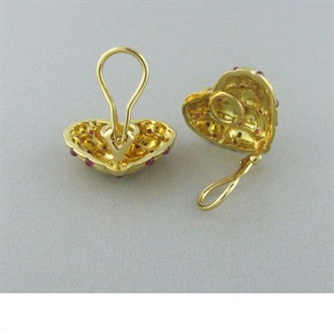 thumbnail image of Estate Gumuchian 18k Gold Ruby Heart Earrings