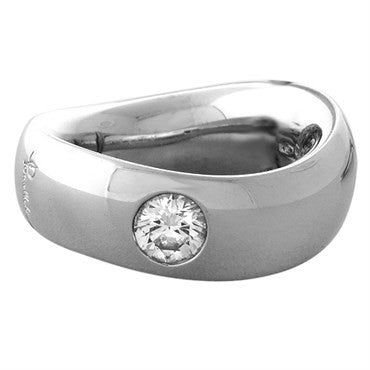 image of New Pomellato 18k White Gold Diamond Wave Band Ring