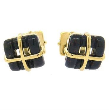 image of Tiffany & Co 18k Gold Bloodstone Cufflinks