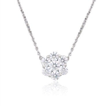 image of New Hearts On Fire Flower 1.42ctw Diamond Pendant Necklace