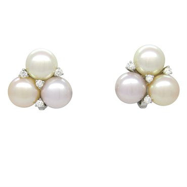 image of Estate 18k Gold Pearl Diamond Earrings