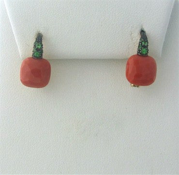 thumbnail image of Pomellato Capri 18K Gold Coral Tsavorite Earrings