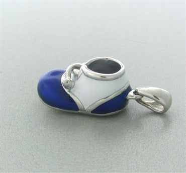 image of Felix Vollman 18k Gold Blue and White Enamel Baby Shoe Charm Pendant