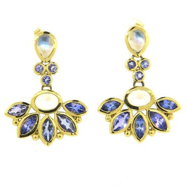 thumbnail image of Temple St. Clair Phoenix Tanzanite Moonstone Gold Drop Earrings