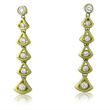 thumbnail image of Slane & Slane 18K Yellow Gold Diamond Feather Linear Drop Earrings