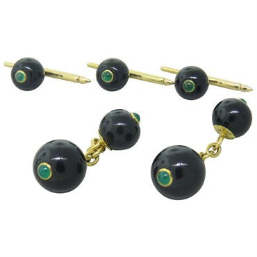 image of Trianon Onyx Emerald Gold Cufflinks Stud Dress Set