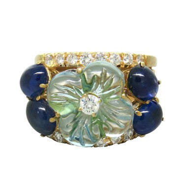 image of Carved Blue Topaz Sapphire Diamond Gold Ring