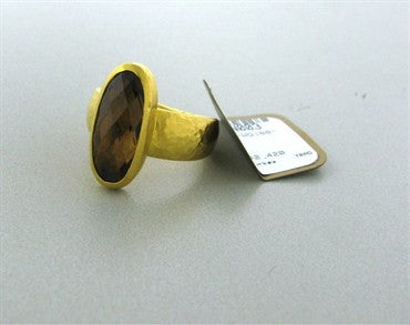 image of New Gurhan 24K Gold 5.43ct Smokey Quartz Ring