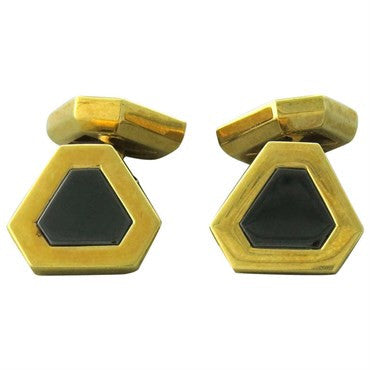 image of Marina B 18k Gold Onyx Cufflinks