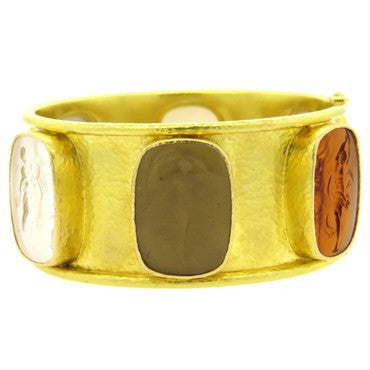 thumbnail image of Elizabeth Locke Stone Intaglio Gold Bangle Bracelet