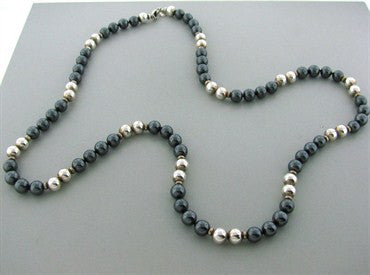 thumbnail image of Estate Tiffany & Co Sterling Silver Hematite Bead Necklace
