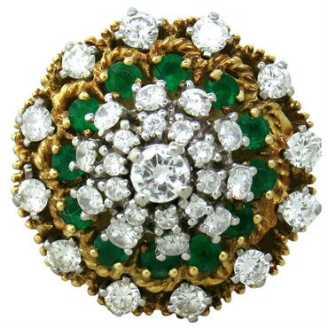 image of 1960s Hammerman Brothers 18K Gold Diamond Emerald Cocktail Ring
