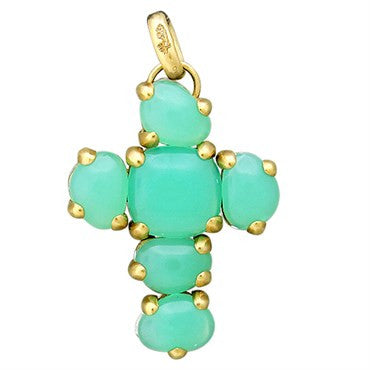 image of New Pomellato Capri 18k Gold Chrysoprase Quartz Cross Pendant