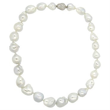 image of Fine South Sea Baroque Pearl 1.30ctw Diamond 18k Gold Necklace