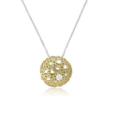 image of New Hearts On Fire 18K Gold Diamond Starry Pendant Necklace