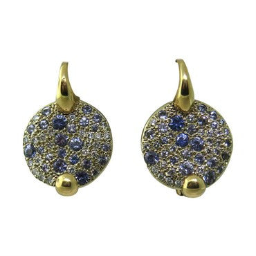 image of Pomellato Sabbia 18k Gold Sapphire Diamond Earrings