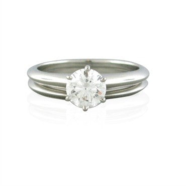image of Tiffany & Co Platinum 1.06ct Diamond Engagement Ring Wedding Band Set