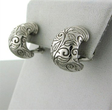 thumbnail image of Estate Seidengang 18K White Gold Carved Leaves Earrings