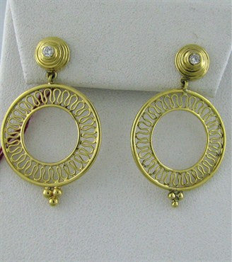image of New Temple St. Clair 18K Yellow Gold Smaller Round Diamond Earrings