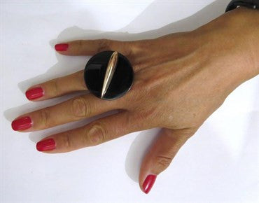 image of Giorgio Facchini Large Onyx Two Color 18k Gold Ring
