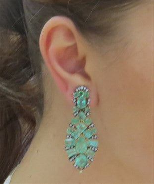 image of Marilyn Cooperman Impressive Emerald Diamond Silver 18k Gold Earrings