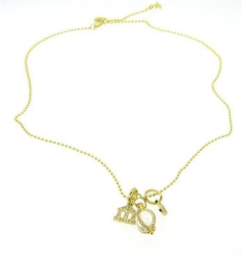 thumbnail image of New Temple St. Clair Rock Crystal Diamond Gold Amulet Charm Pendant Necklace