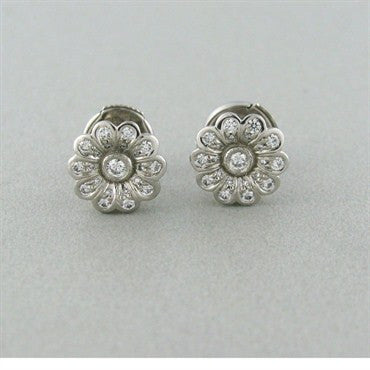 image of Tiffany & Co Platinum Diamond Flower Earrings