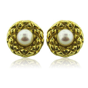 image of Estate Tiffany & Co 18k Gold Pearl Earrings