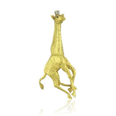 thumbnail image of Tiffany & Co 18k Diamond Sapphire Giraffe Brooch Pin