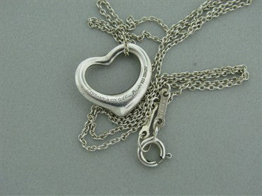 thumbnail image of Estate Tiffany & Co Peretti Sterling Heart Pendant Chain Necklace