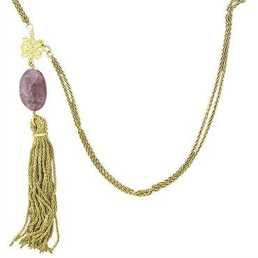 thumbnail image of H. Stern 18K Yellow Gold Diamond Gemstone Drop Tassle Pendant Necklace