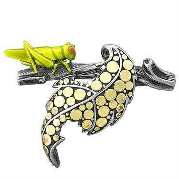 image of John Hardy Dots Sterling Silver 18k Gold Leaf and Grasshopper Brooch P