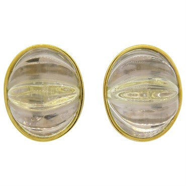 image of Large Tambetti Carved Crystal 18k Gold Earrings