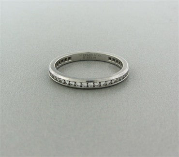 thumbnail image of Tiffany & Co Channel Set Platinum Diamond Wedding Band Ring