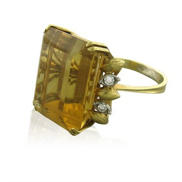 image of Large Vintage H. Stern 18K Yellow Gold Citrine Diamond Ring