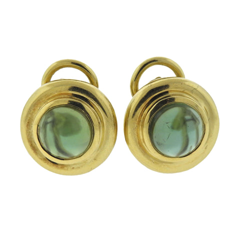 image of Tiffany & Co Paloma Picasso Green Tourmaline 18k Gold Earrings