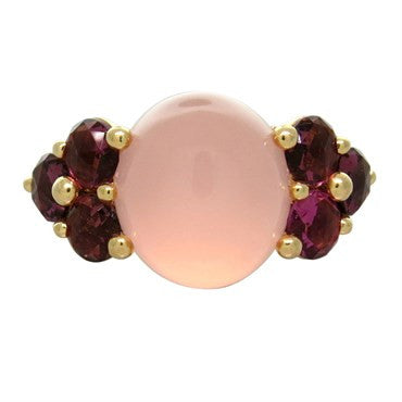 image of New Pomellato Luna 18k Gold Pink Quartz Red Tourmaline Ring
