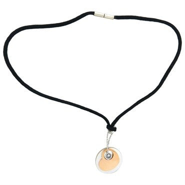 image of Chopard Happy Diamonds Silk Cord Mother of Pearl Gold Pendant Necklace