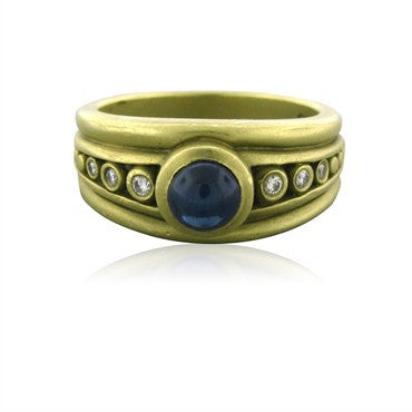 image of Estate Kieselstien Cord 18K Yellow Gold Diamond Sapphire Ring