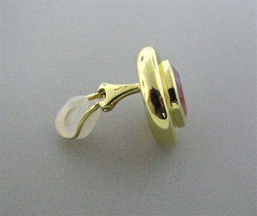 thumbnail image of Vintage Tiffany & Co Paloma Picasso 18k Gold Pink Tourmaline Earrings