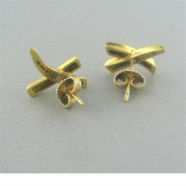 image of Estate Tiffany & Co 18k Gold X Earrings
