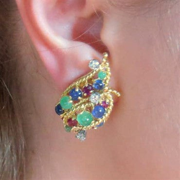 thumbnail image of 1960s Diamond Ruby Emerald Sapphire Cabochon Gold Earrings