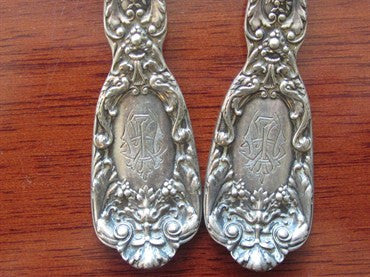 thumbnail image of Gorham Florentine Sterling 2pc Serving Spoon Set