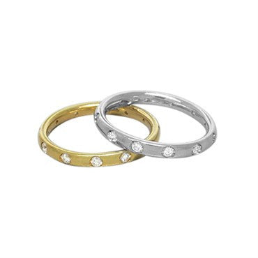 thumbnail image of New Pomellato Lucciole 18k Gold Diamond Stackable Band Ring Set of 2
