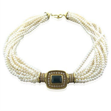 image of Bague French 18K Gold Tourmaline Diamond Multi Strand Pearl Necklace