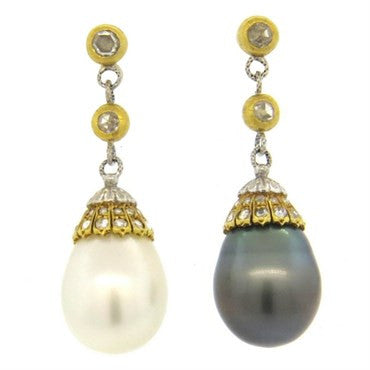 image of Fine Buccellati South Sea Pearl Rose Cut Diamond Gold Drop Earrings