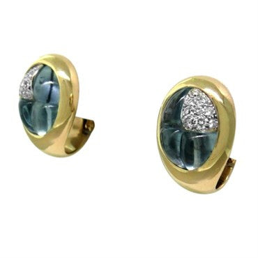 thumbnail image of New Pomellato 18K Gold Diamond Aquamarine Earrings